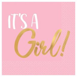 Små servetter - It's a girl - Rosa/Guld