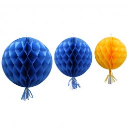 Honeycombs med tassel - 3-pack - Blå/Gul