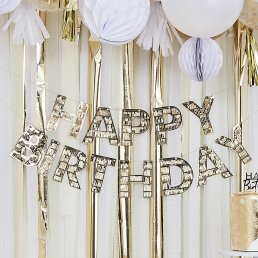 Backdrop - Happy Birthday - Guldfransar