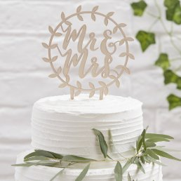 Cake Topper - Botanics - Mr & Mrs