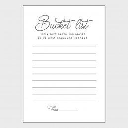 Advice cards - Bucket list