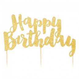 Cake Topper - Happy Birthday - Guldglitter