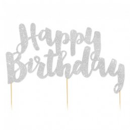Cake Topper - Happy Birthday - Silverglitter