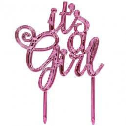 Cake Topper - It's a girl - Metallic