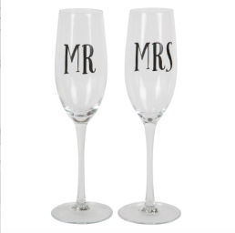 Champagneglas - Mr & Mrs