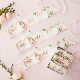 Sash - Floral hen - Team Bride - 6-pack