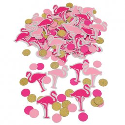Konfetti - Flamingo party - Rosa/Guld