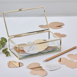 Glasbox med hjärtan - Gold wedding