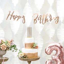 Backdrop - Happy Birthday - Roséguld