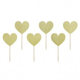 Cake picks - Sweet love - Guldglitter