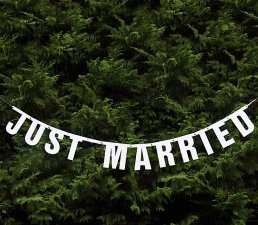 Vimpel - Just Married - Vit/Glitter