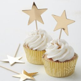 Cake Picks - Metallic Star - Guld