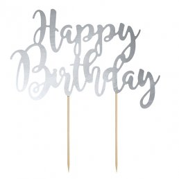 Cake topper - Happy Birthday - Silvermetallic