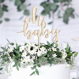 Cake Topper - Oh Baby - Trä