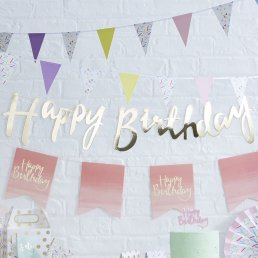 Backdrop - Happy Birthday - Guld