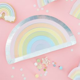 Papptallrikar - Rainbow - Pastel party
