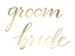 Stolsdekorationer - Bride & Groom - Guld