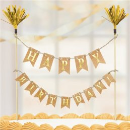Tårtvimpel  - Happy Birthday - Guld/Kraft