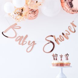 Backdrop - Baby shower - Roséguld