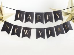 Vimpel - Happy New Year - Svart/Guld