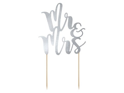 Cake Topper - Mr & Mrs - Silver