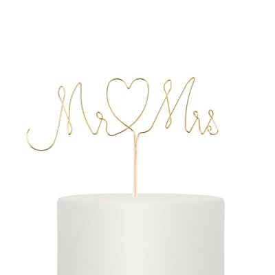 Cake Topper - Wire - Mr & Mrs - Guld