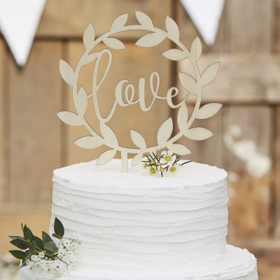 Cake Topper - Love - Rustic Country