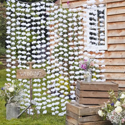 Draperi - White Floral - Rustic Country