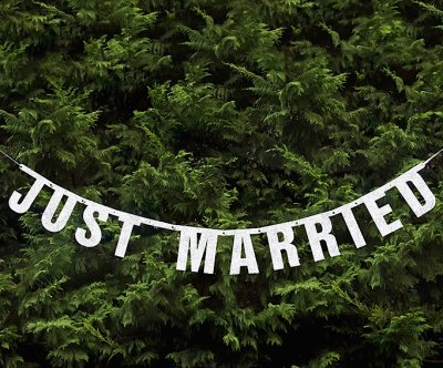 Vimpel - Just Married - Silverglitter