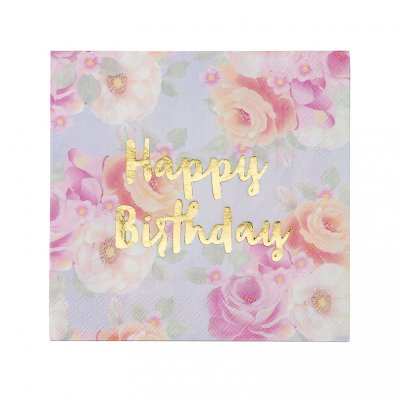 Servetter - Pastel Floral - Happy Birthday