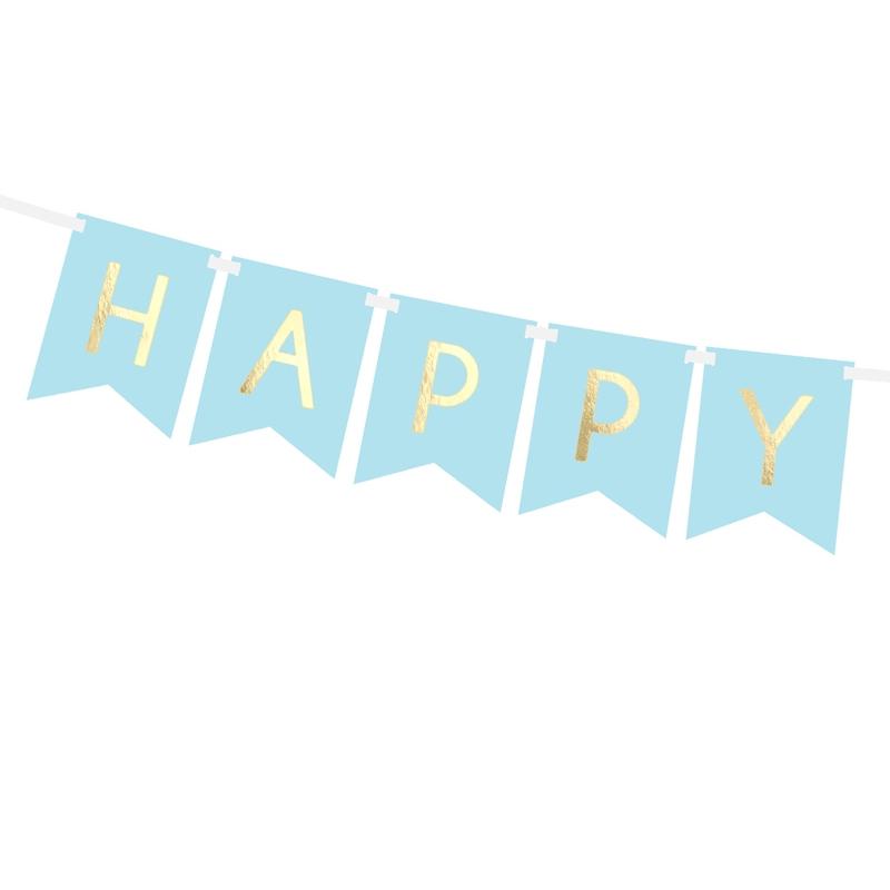 Vimpel - Happy Birthday - Blå Guld - Myperfectday.se 54208fade8eaa
